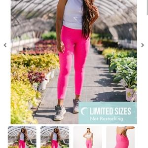 ZYIA Hot Pink Stay Gold Light n Tight Hi-Rise 7/8